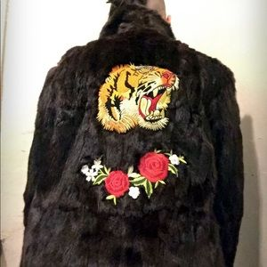 Vintage fur coat with patches